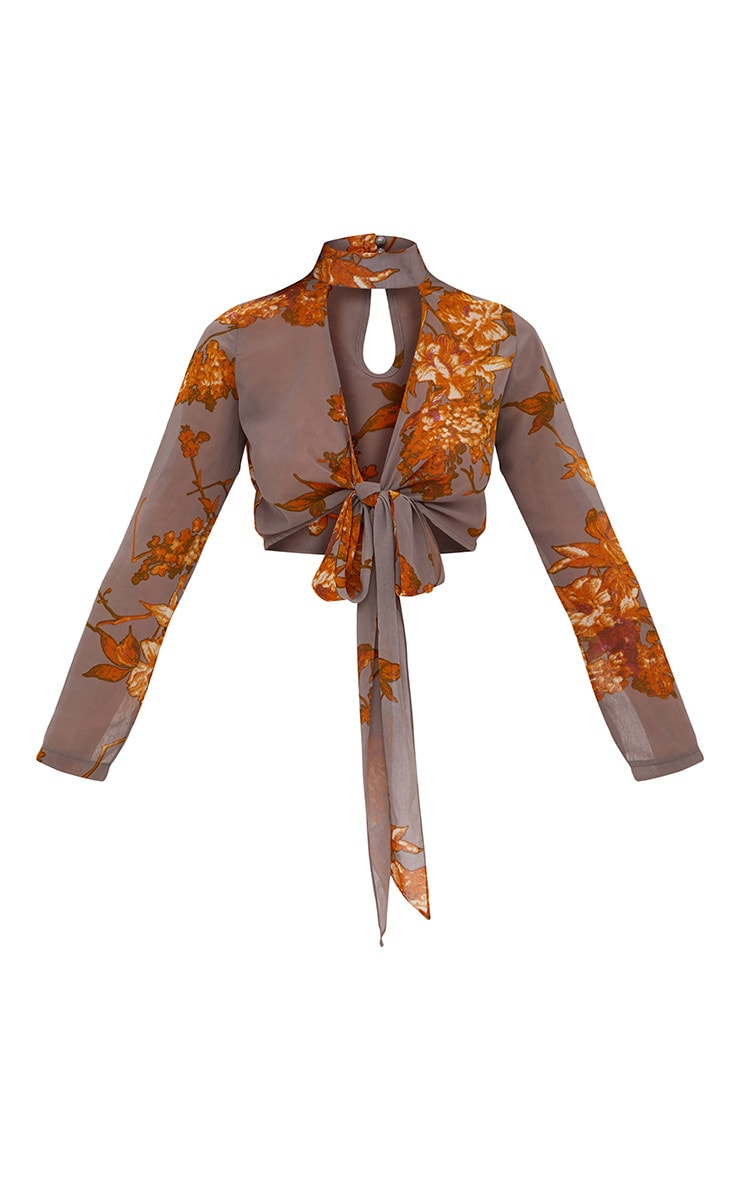 Beckette Grey Floral Print Choker Tie Blouse 3