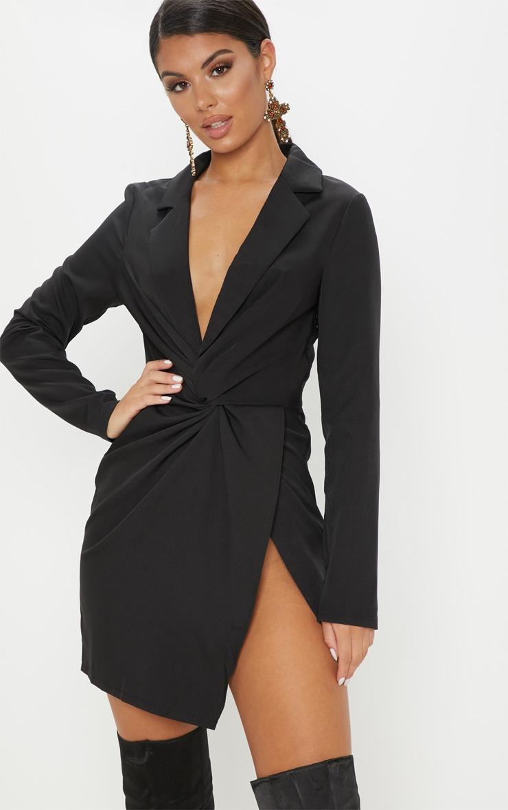 0feaed08f041 Black Knot Detail Wrap Blazer Dress | Dresses | PrettyLittleThing