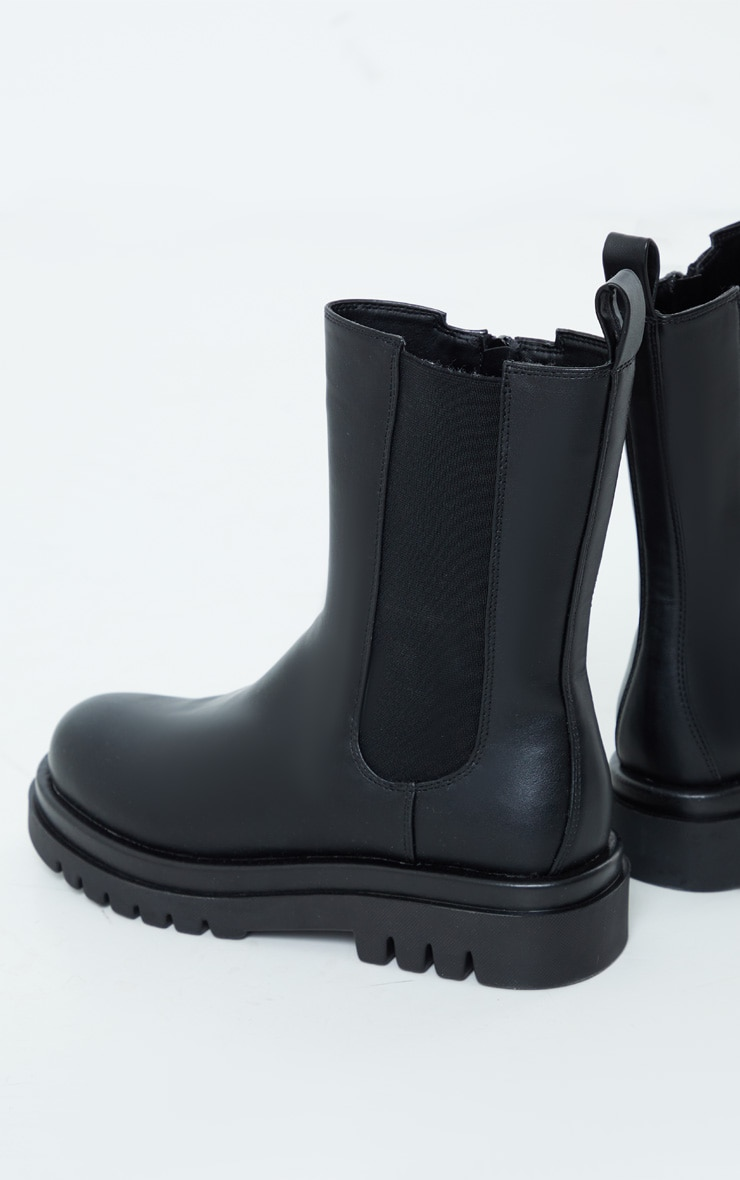 Black PU Calf High Vamp Chelsea Boots 3
