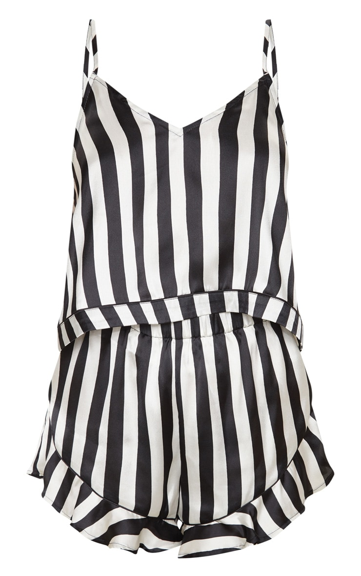 Black And White Piping Detail Cami Short Pj Set 3