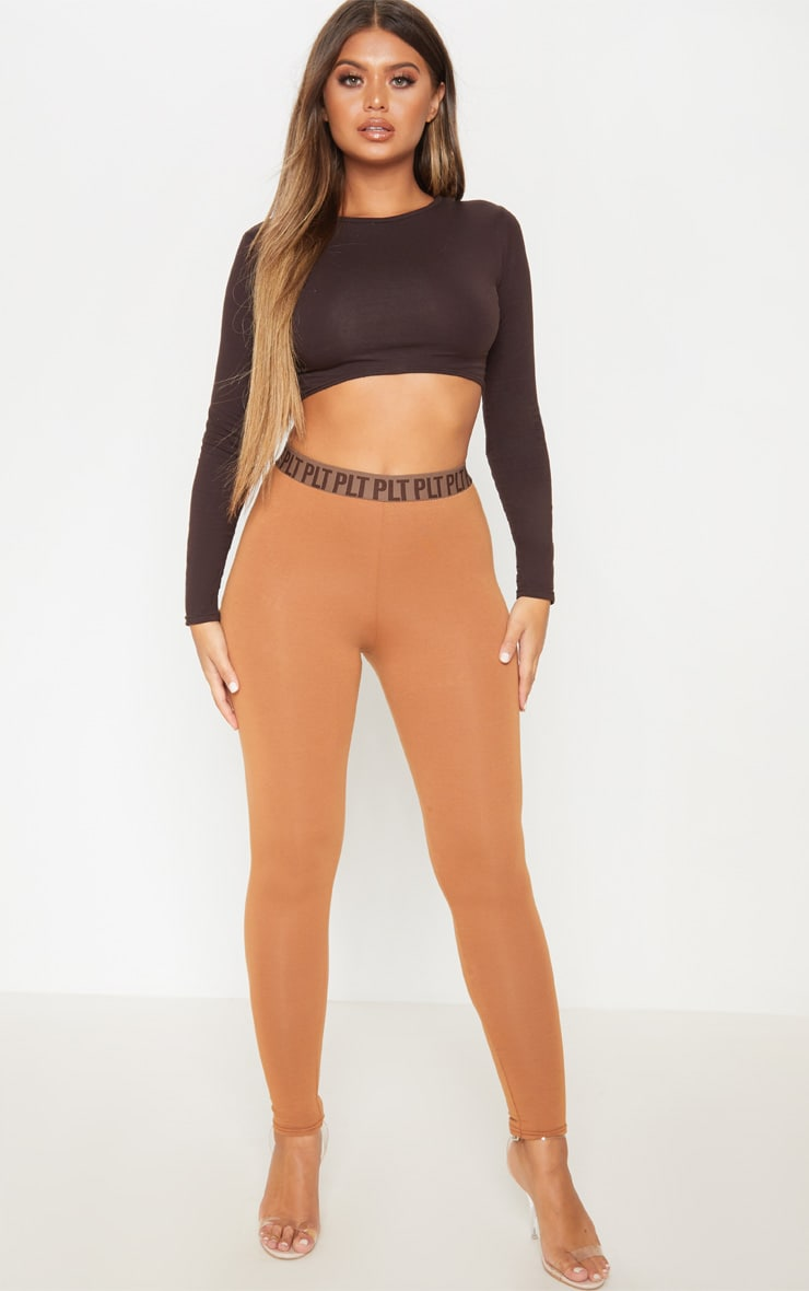 PRETTYLITTLETHING Camel High Waisted Leggings