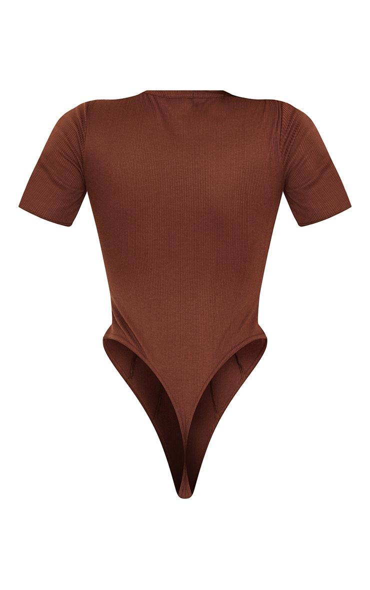 Chocolate Rib Short Sleeve Seam Detail Bodysuit 6
