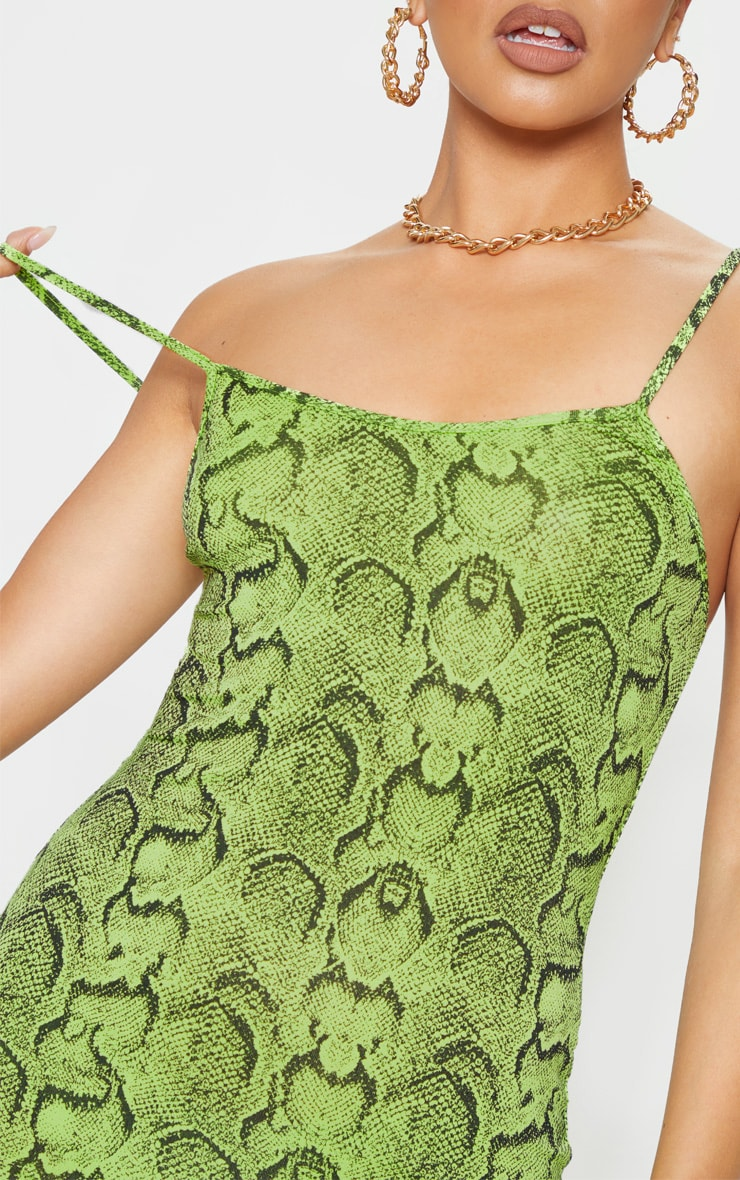 Lime Snake Print Strappy Scoop Neck Bodycon Dress 5