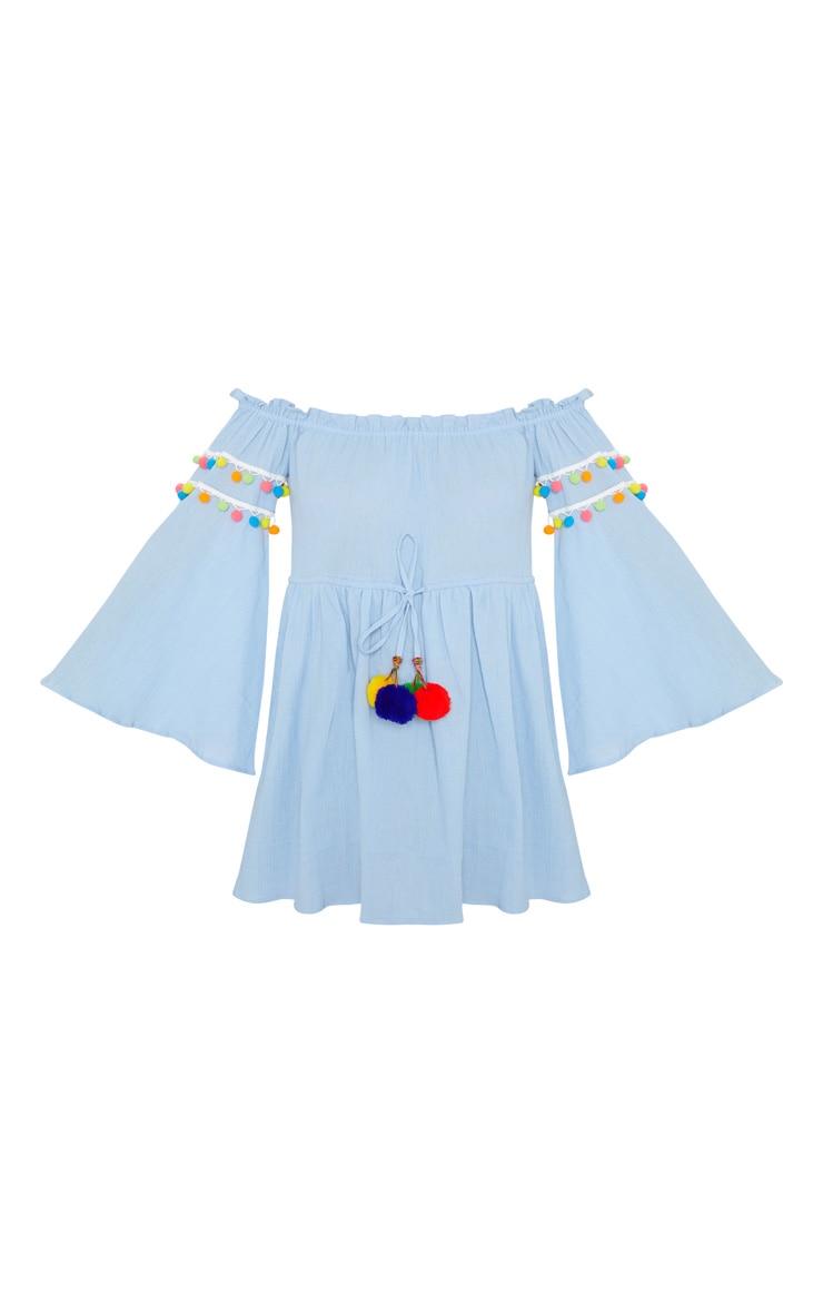 Pastel Blue Pom Pom Trim Bardot Smock Dress 3