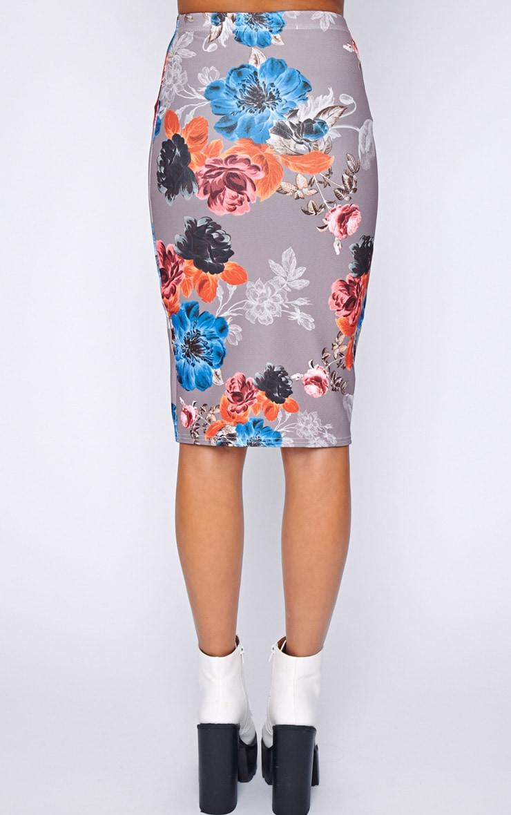 Juliette Mocha Floral Midi Skirt  2