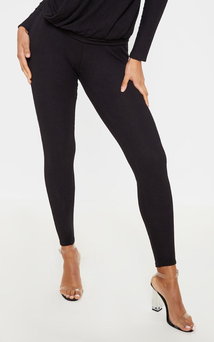 Black Brushed Rib High Waisted Legging 2