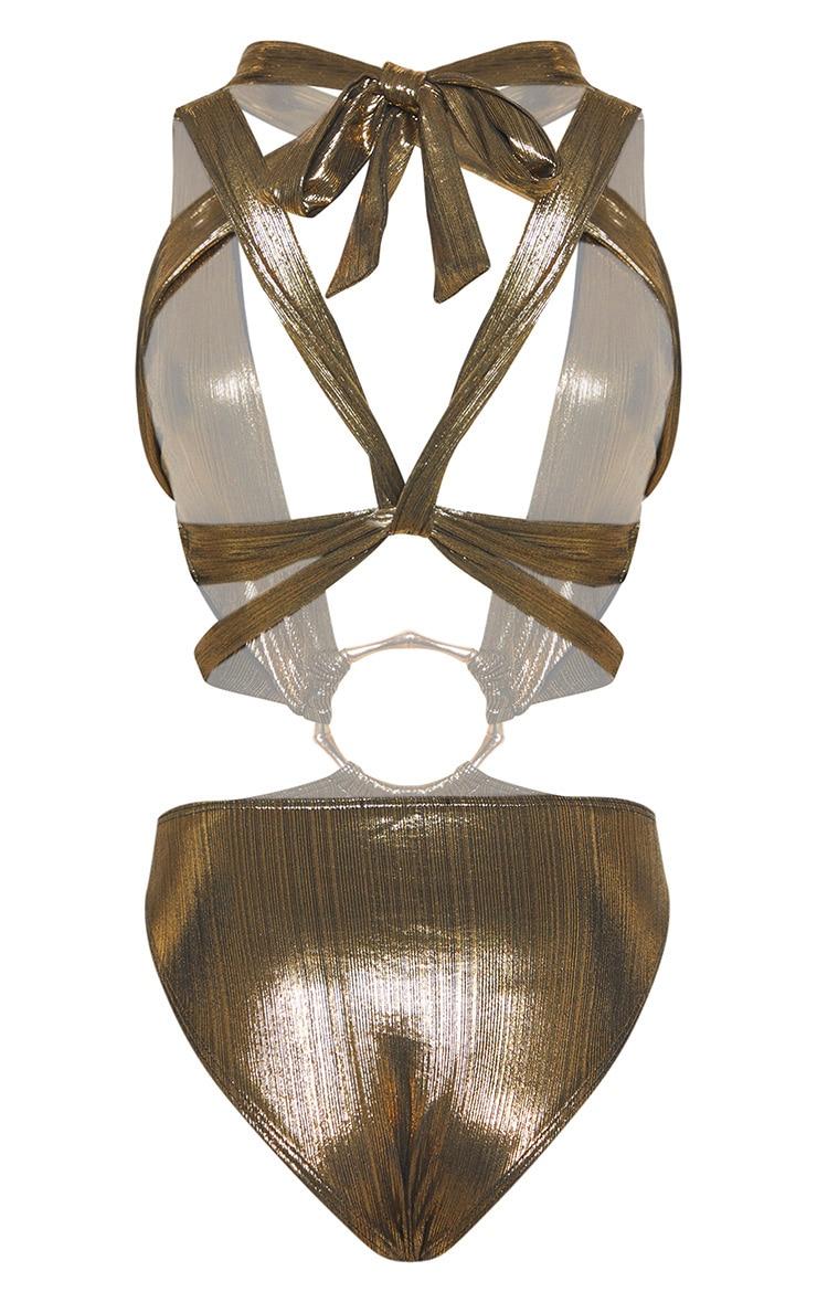 Gold Bamboo Ring Metallic Wrap Swimsuit 4