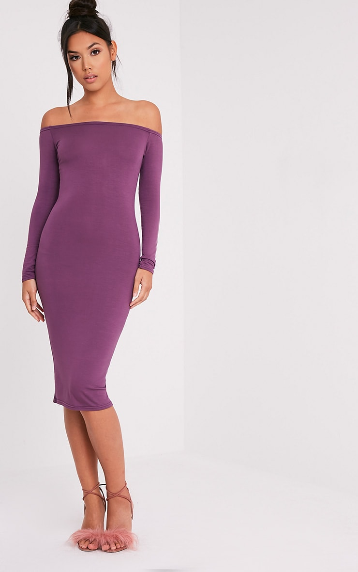 Basic robe midi bardot en jersey aubergine 1