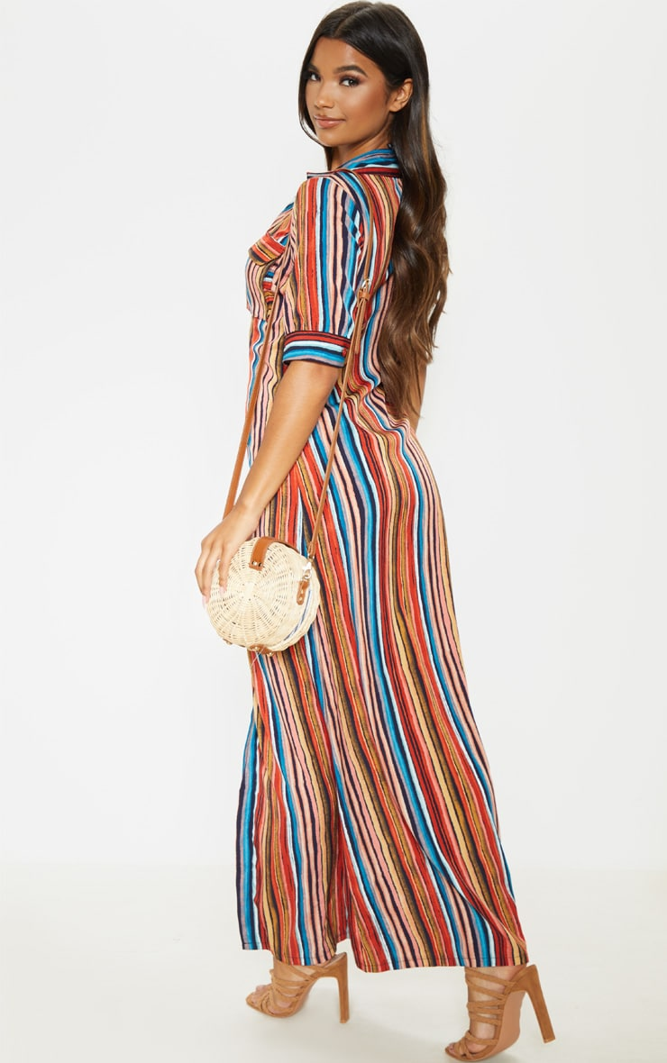 Multi Printed Stripe Short Sleeve Maxi Shirt Dress 2