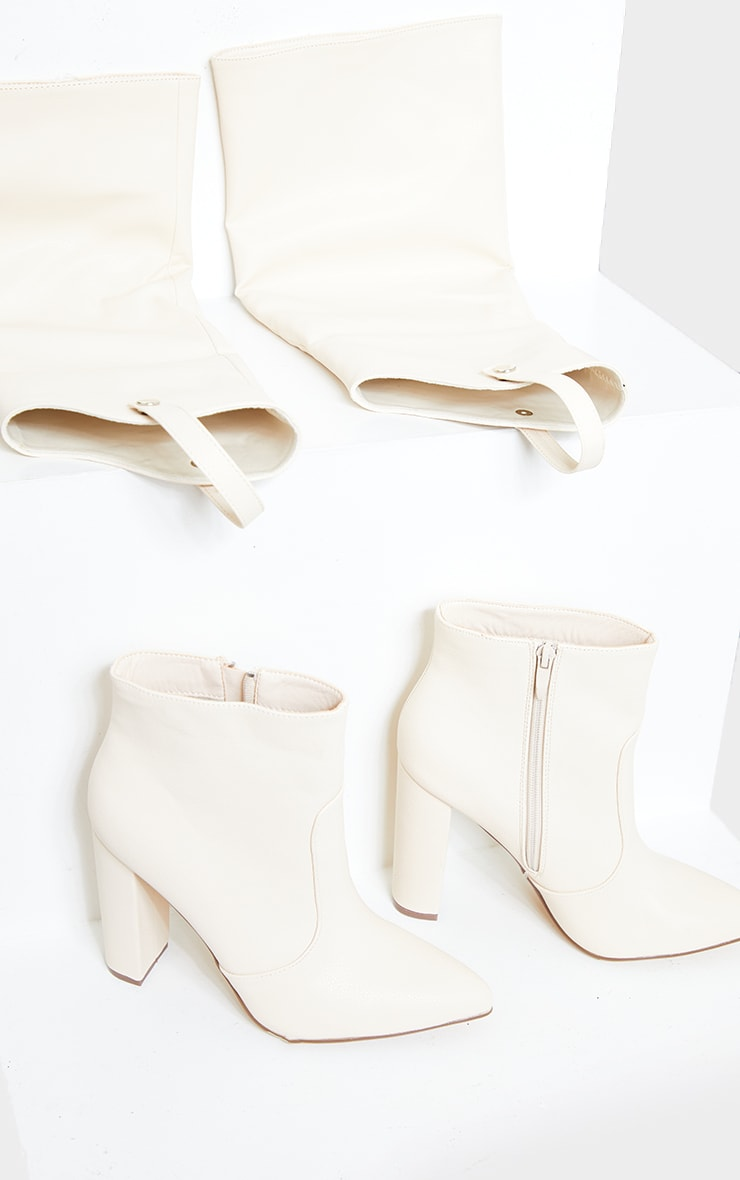 Beige PU Removable Upper Knee High Heeled Boots 3