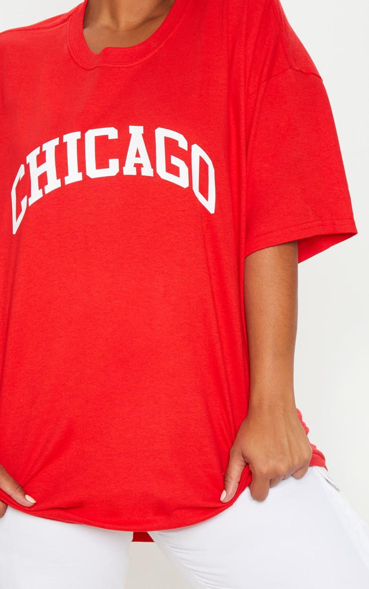Plus Red Chicago Slogan T Shirt 5