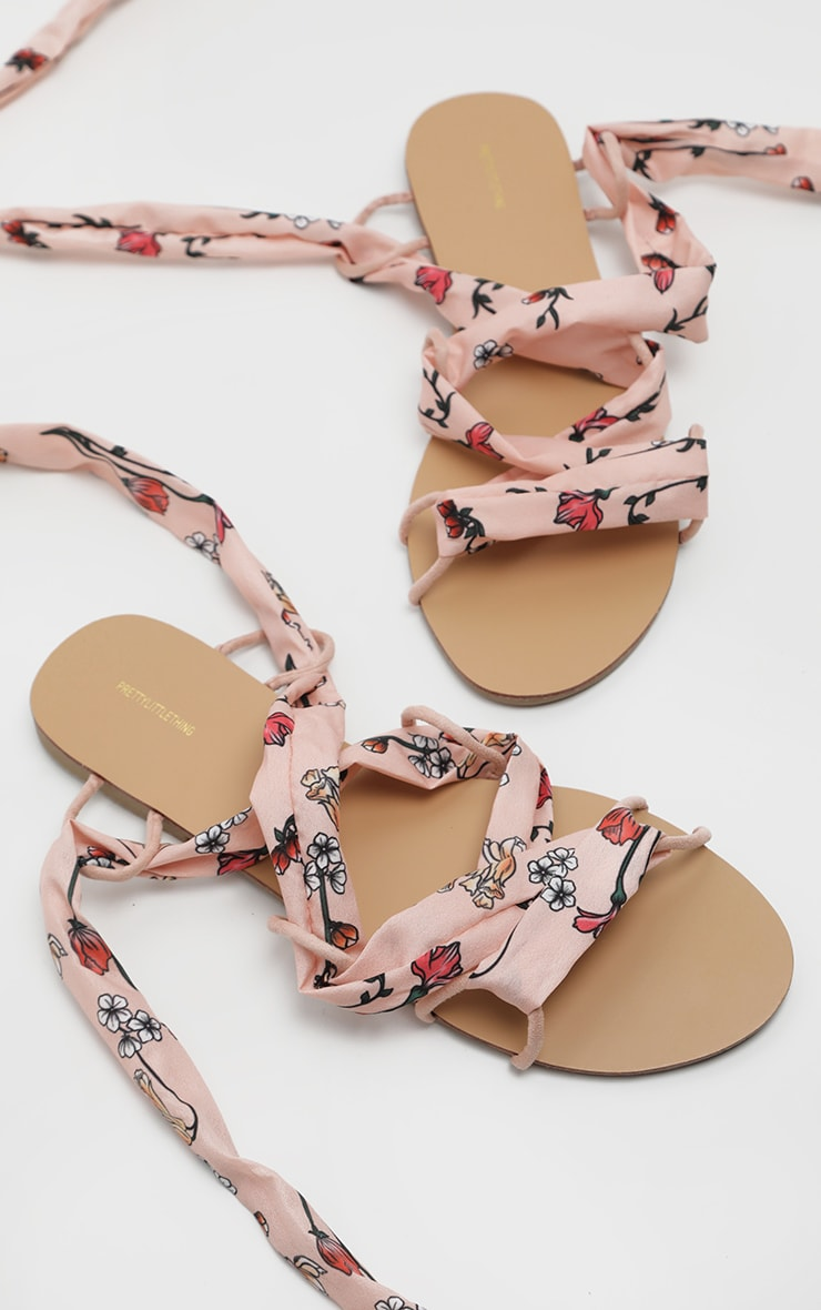 Peach Ditsy Flower Print Ghillie Lace Up Sandal 3
