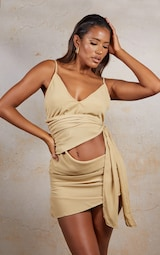 Camel Side Tie Detail Bodycon Dress 1