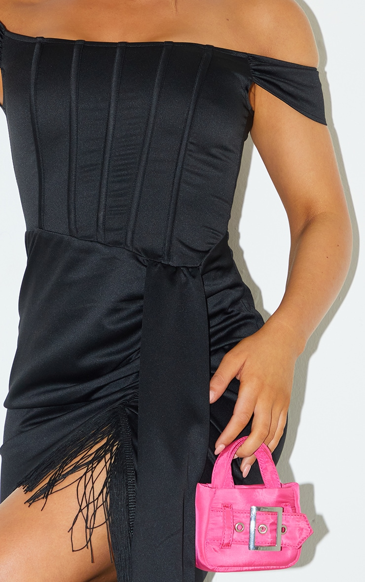 Black Satin Bardot Tassel Hem Draped Midi Dress 4