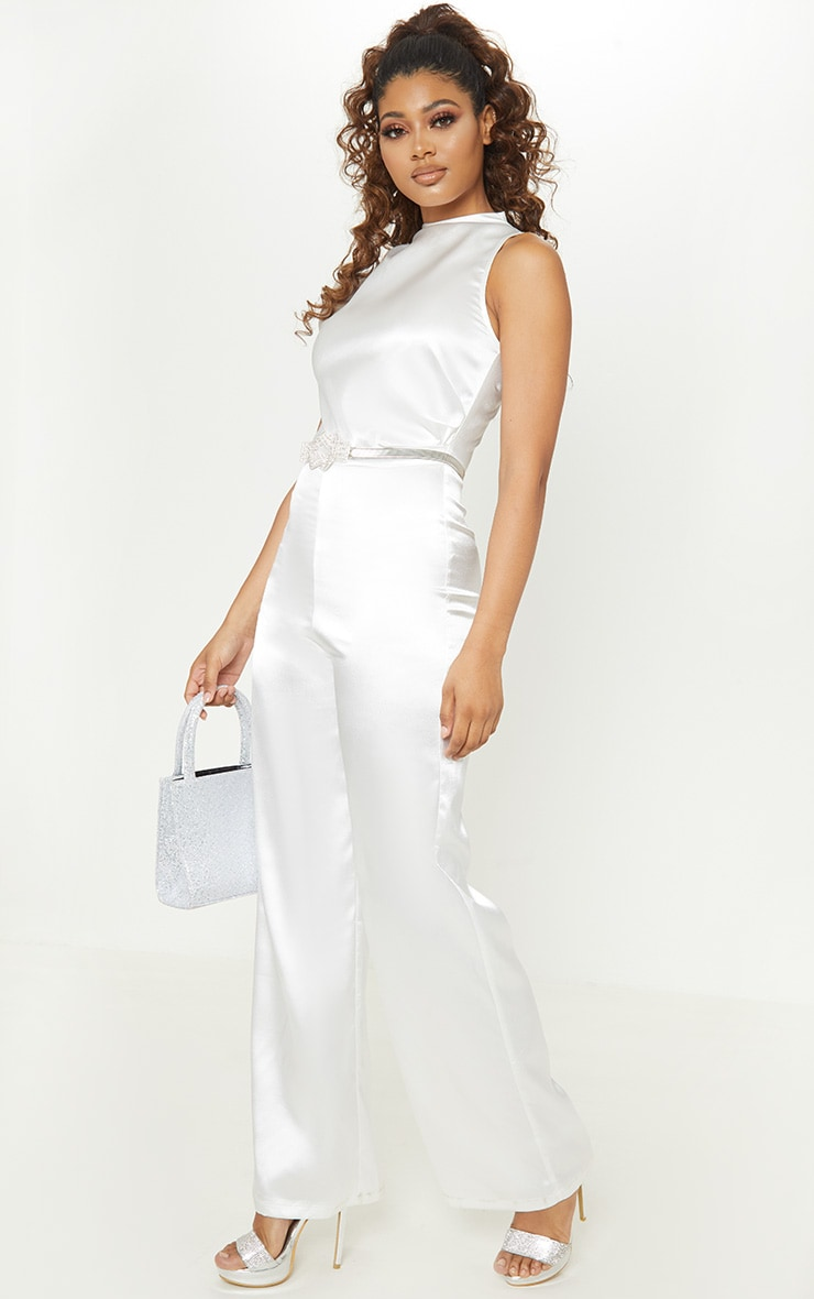 Tall White Satin High Neck Jumpsuit 4