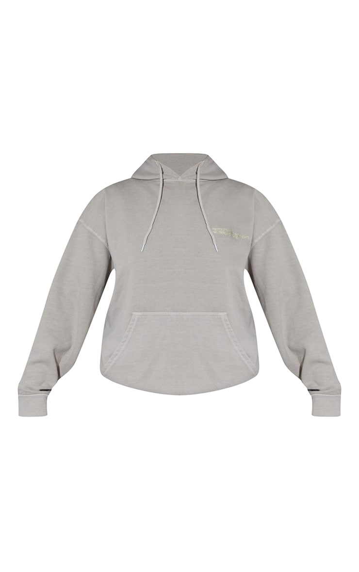 PRETTYLITTLETHING Recycled Grey Est 2012 Washed Hoodie 5