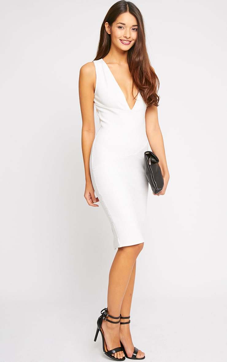 Frankie Cream Deep V Bandage Midi Dress 3