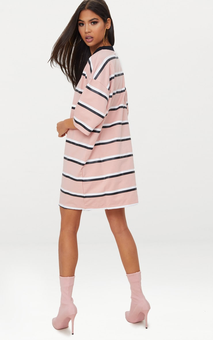 Pink Striped Oversized Boyfriend T Shirt Dress 2