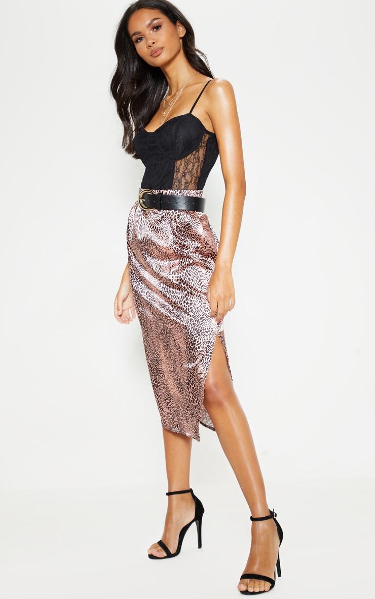2a1538641b Pink Leopard Print Satin Midi Skirt | Skirts | PrettyLittleThing AUS