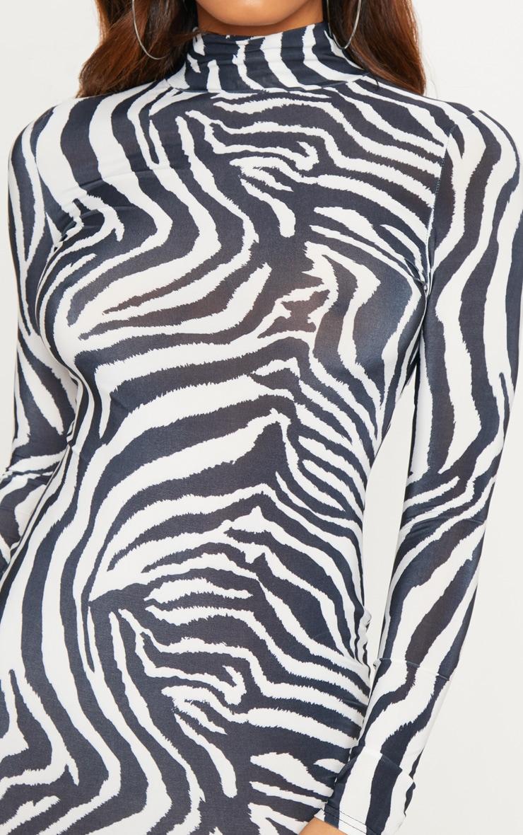 Tall White Zebra Print High Neck Slinky Midi Dress 5