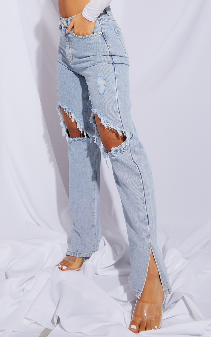 Petite Light Blue Distressed Knee Split Hem Denim Jean 2