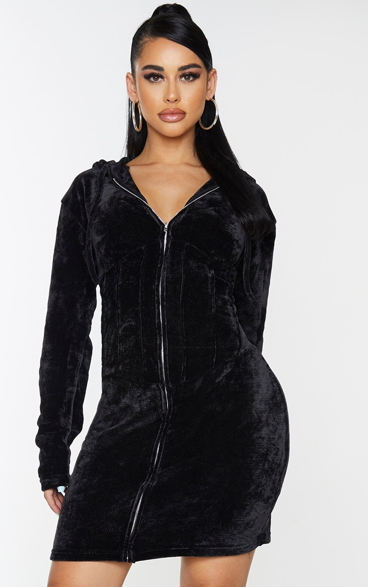 Shape Black Rib Velour Corset Detail Hooded Bodycon Dress 3