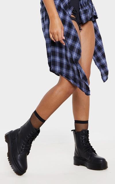 dc6466a1e3f Black Matte Chunky Lace Up Boots