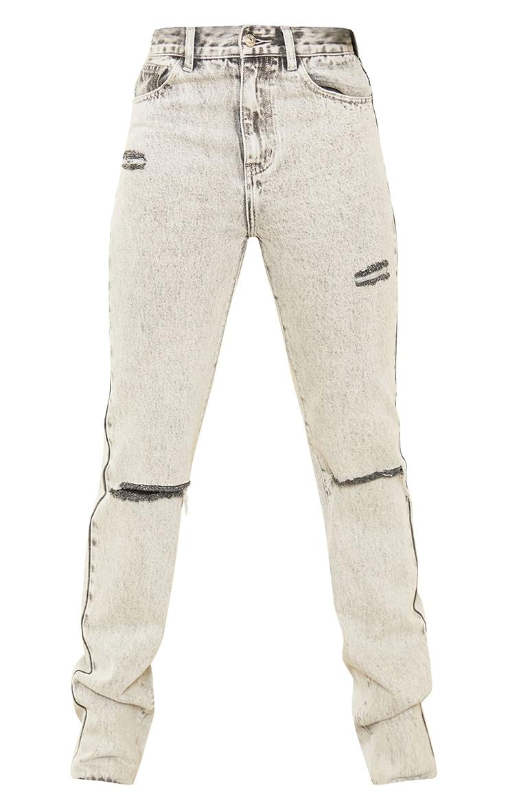 PRETTYLITTLETHING Tall Grey Acid Wash Distressed Long Leg Straight Jeans 5