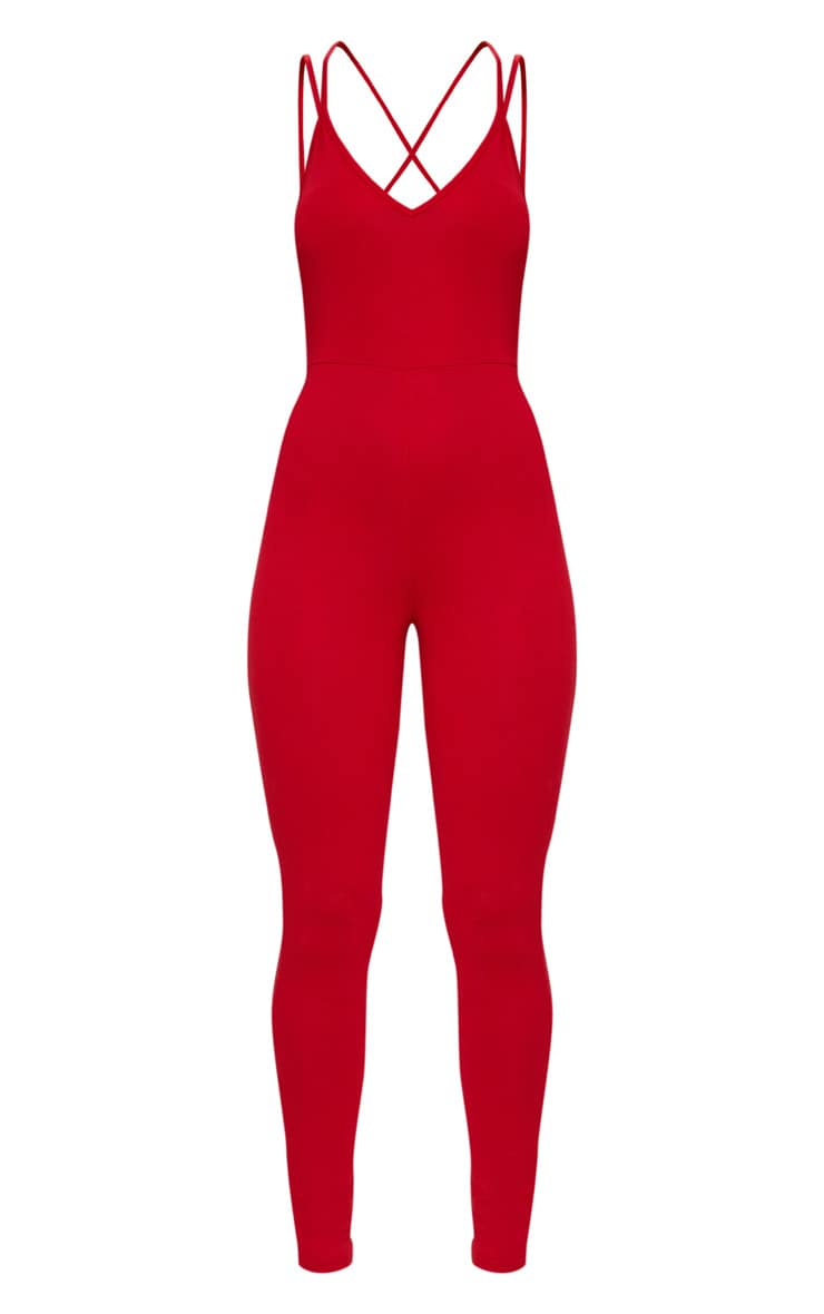 Red Jersey Cross Back Jumpsuit 3