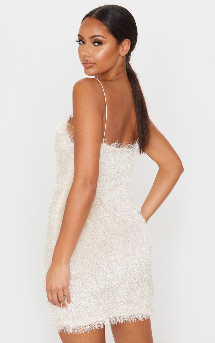 Champagne Tiered Fringed Strappy Bodycon Dress 2