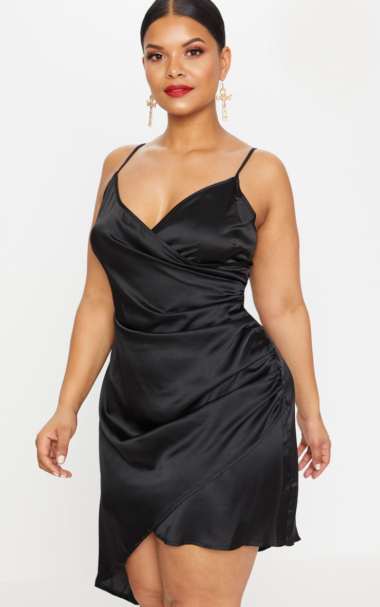 Plus Black Satin Wrap Dress 1