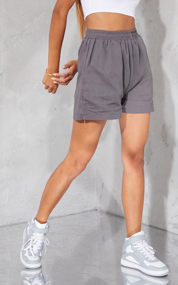 Grey Twill Runner Shorts 2
