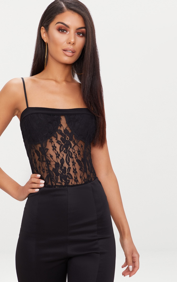Black Lace Square Neck Thong Bodysuit  1