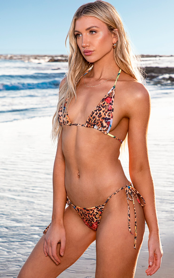 Multi Butterfly Print Tie Side Bikini Bottom