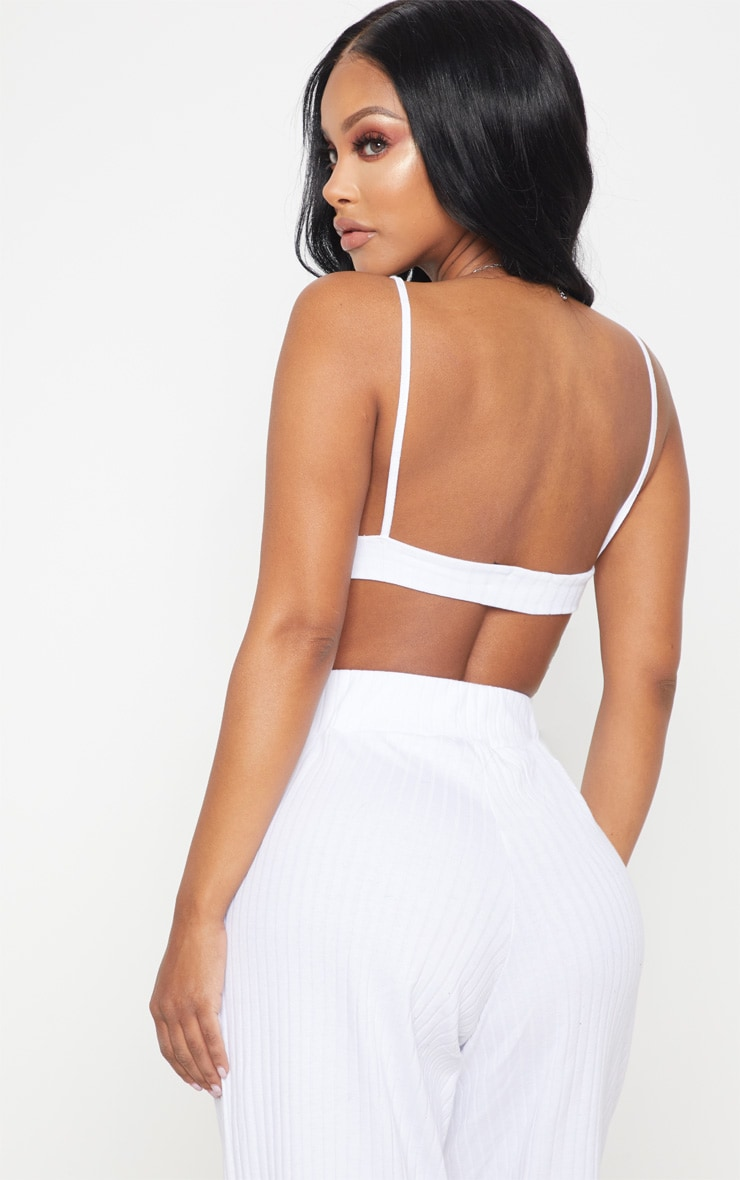 Shape White Ribbed Plunge Crop Top 2