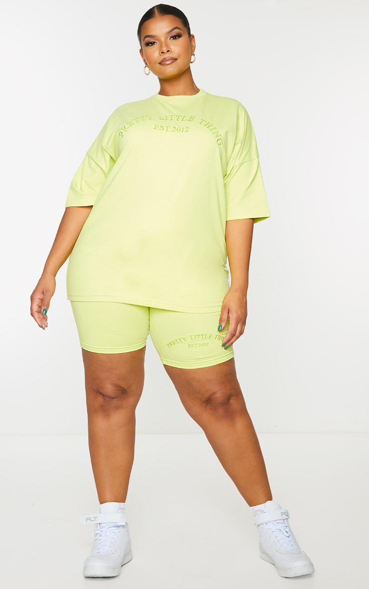 Plus Light Lime Embroidered Oversized Tshirt 3