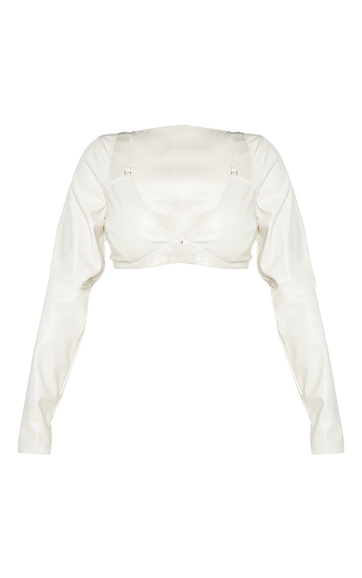 Shape Cream Faux Leather Ring Detail Cut Out Crop Top 5