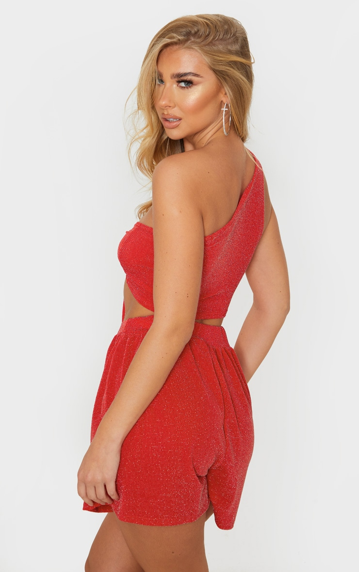 Red Textured Glitter One Shoulder Tie And Short Set 2