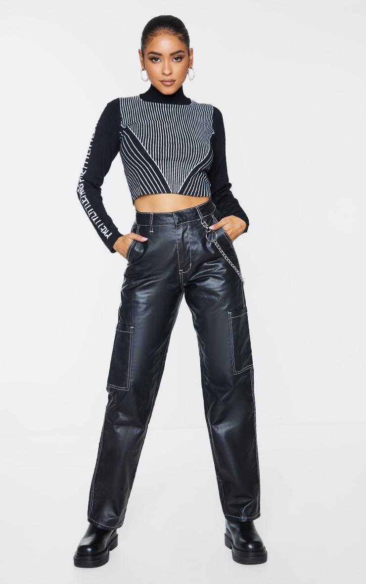 PRETTYLITTLETHING Black Sleeve Stripe Body Crop Sweater 1