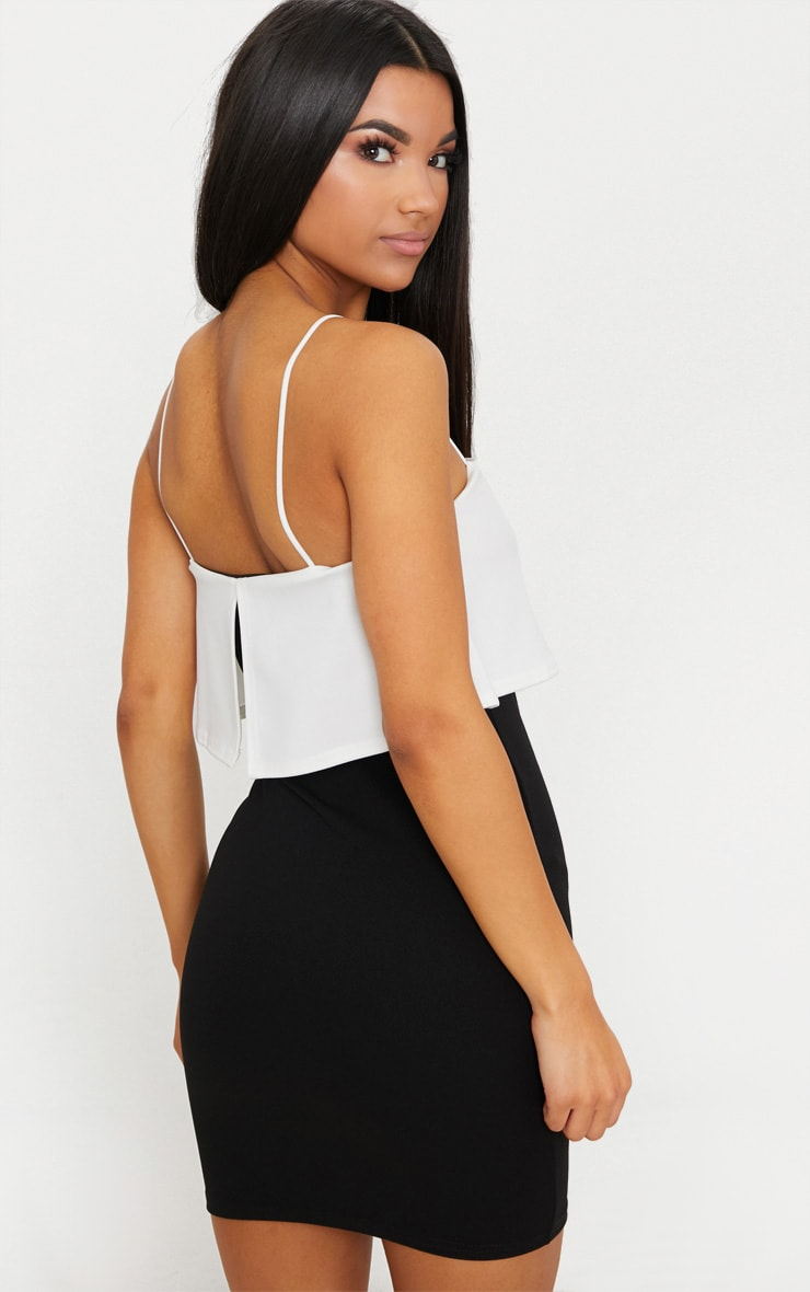 Black Contrast Strappy Panel Bodycon Dress 2