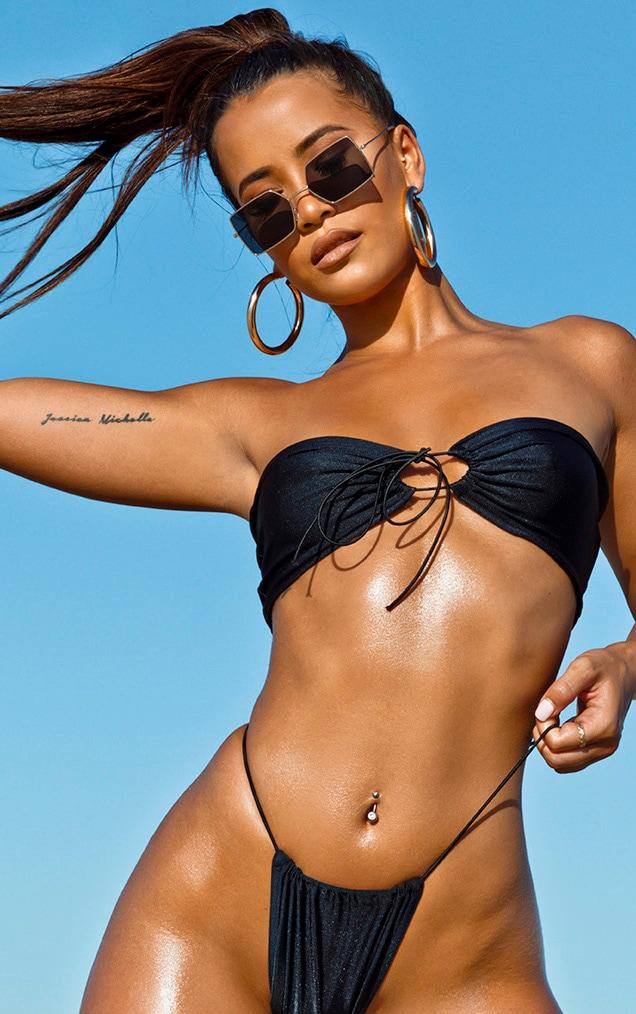 Black Multi Tie Elastic Strap Bikini Top 5