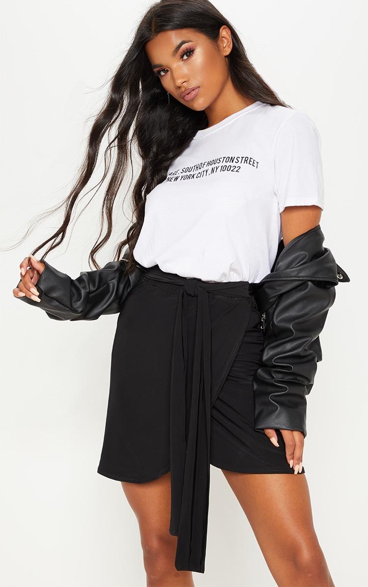 Black Slinky Tie Waist Wrap Skirt 5