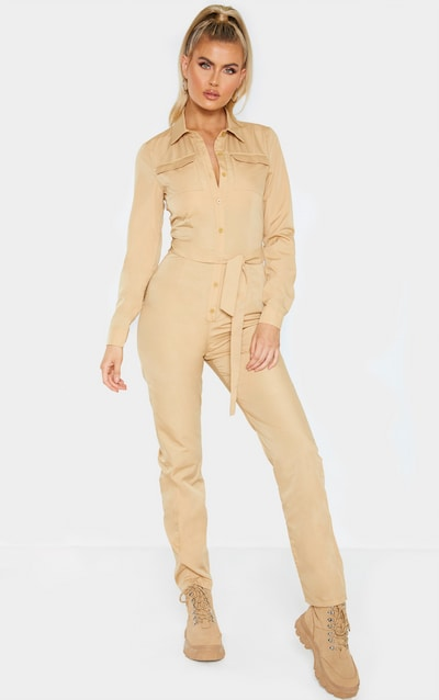 Tall Fawn Square Pocket Long Sleeve Utility Jumpsuit