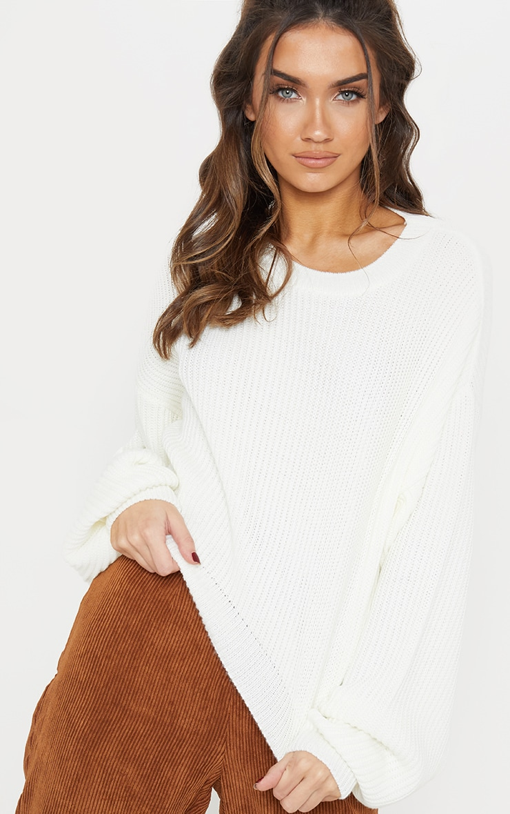Cream Wide Sleeve Knitted Sweater  7