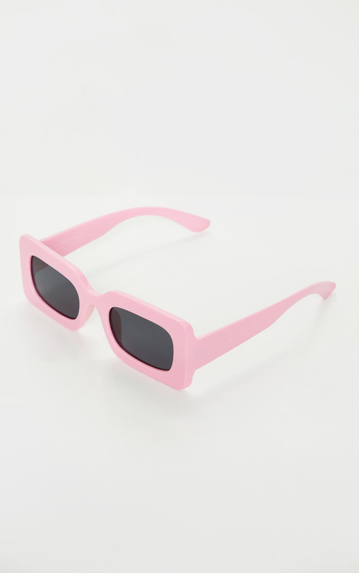 Baby Pink Chunky Square Frame Sunglasses 3