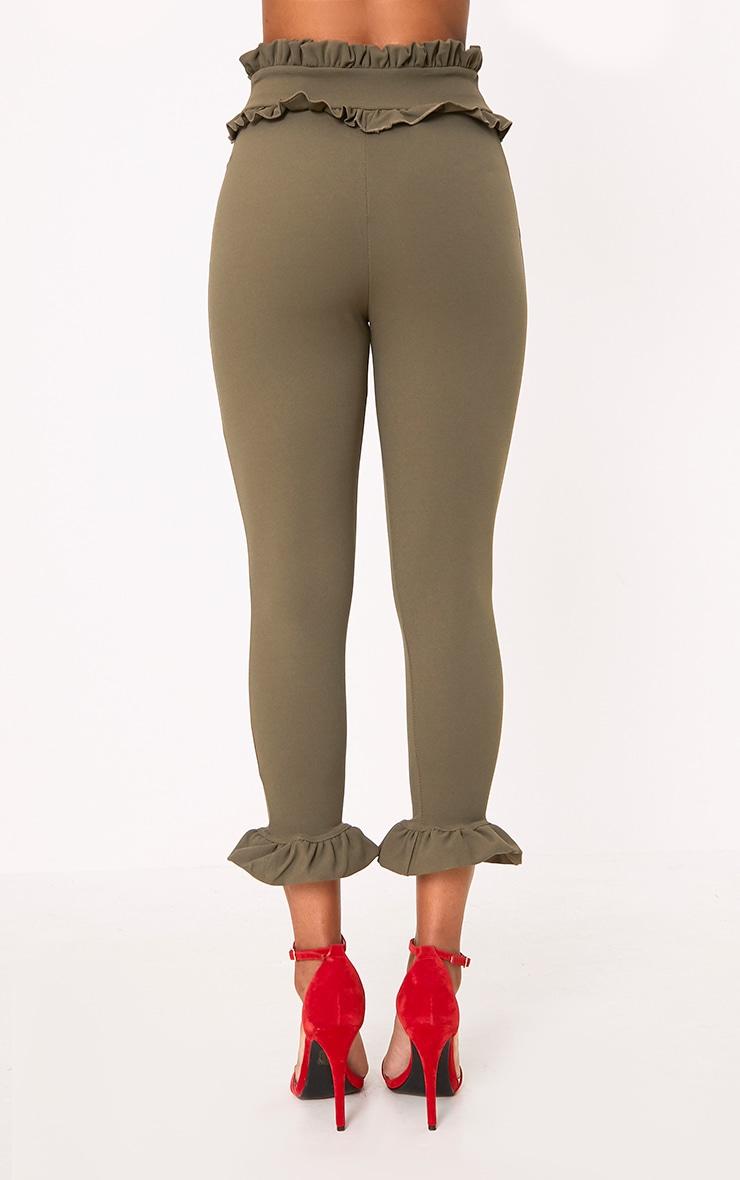 Khaki Keren Frill Hem Trousers 4