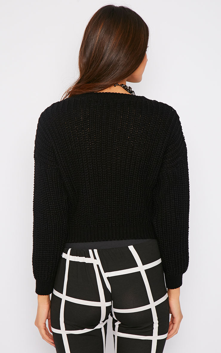 Teri Black Round Neck Cropped Knit Sweater 2