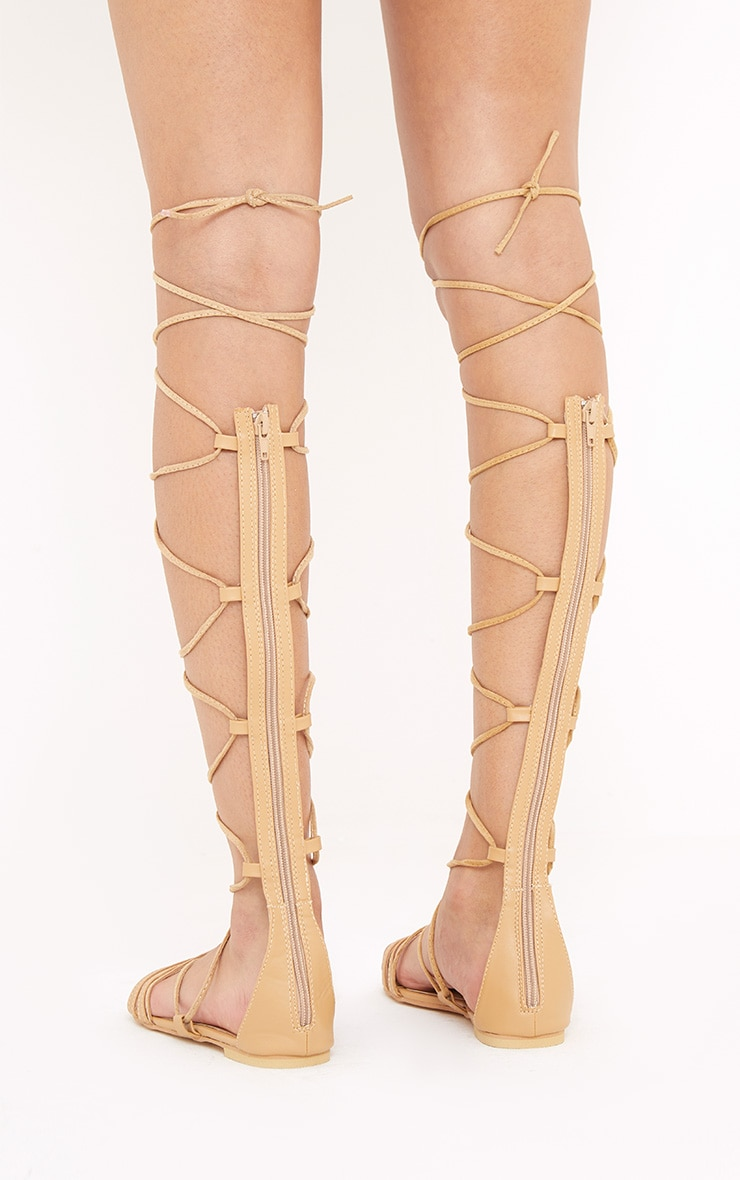 Lorna Nude Over The Knee Lace Up Sandals 4