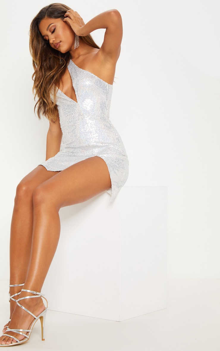Silver Sequin One Shoulder Cut Out Bodycon Dress 6