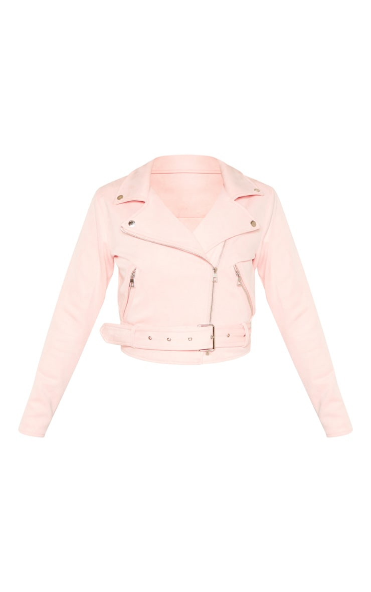 Light Pink Faux Suede Biker Jacket 3